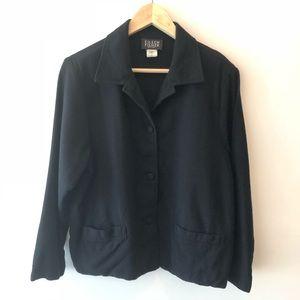 Eileen Fisher Black Wool Boxy Jacket Blazer L